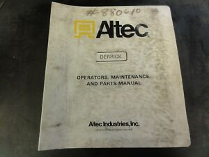 Details about Altec Industries D890A Hydraulic Derrick Operators  Maintenance and Parts Manual