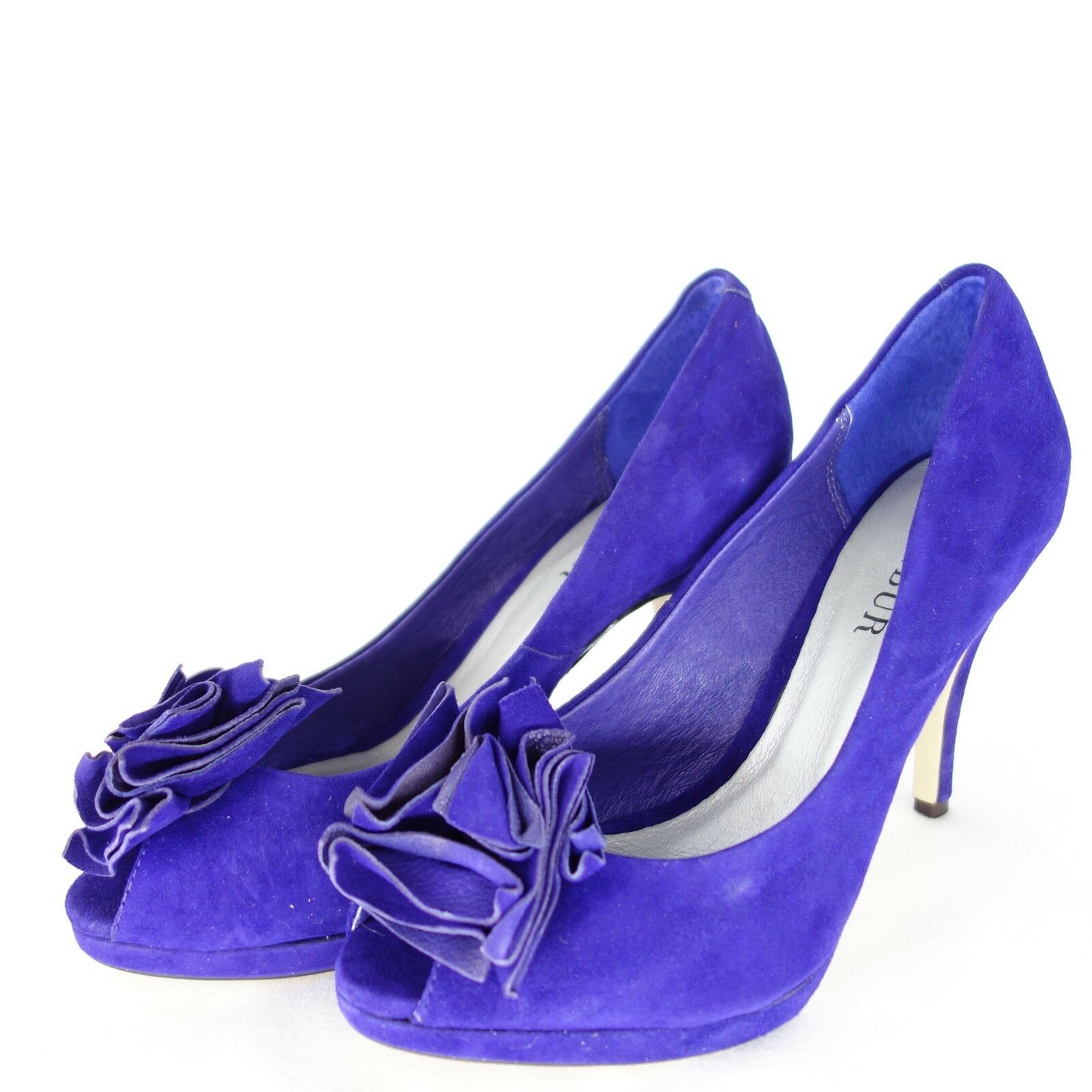 Menbur Women's Pumps shoes shoes shoes Size 39 Purple bluee Leather Suede Peep Toe Np 99 New 0d4a87