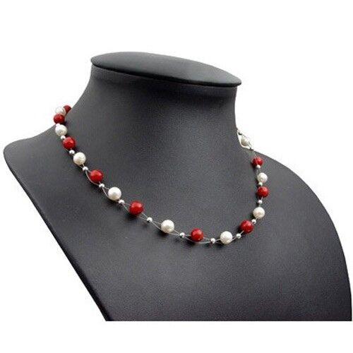 Kette echte Koralle Korallen /& Süßwasserperlen Perlen Halskette Damen weiß rot