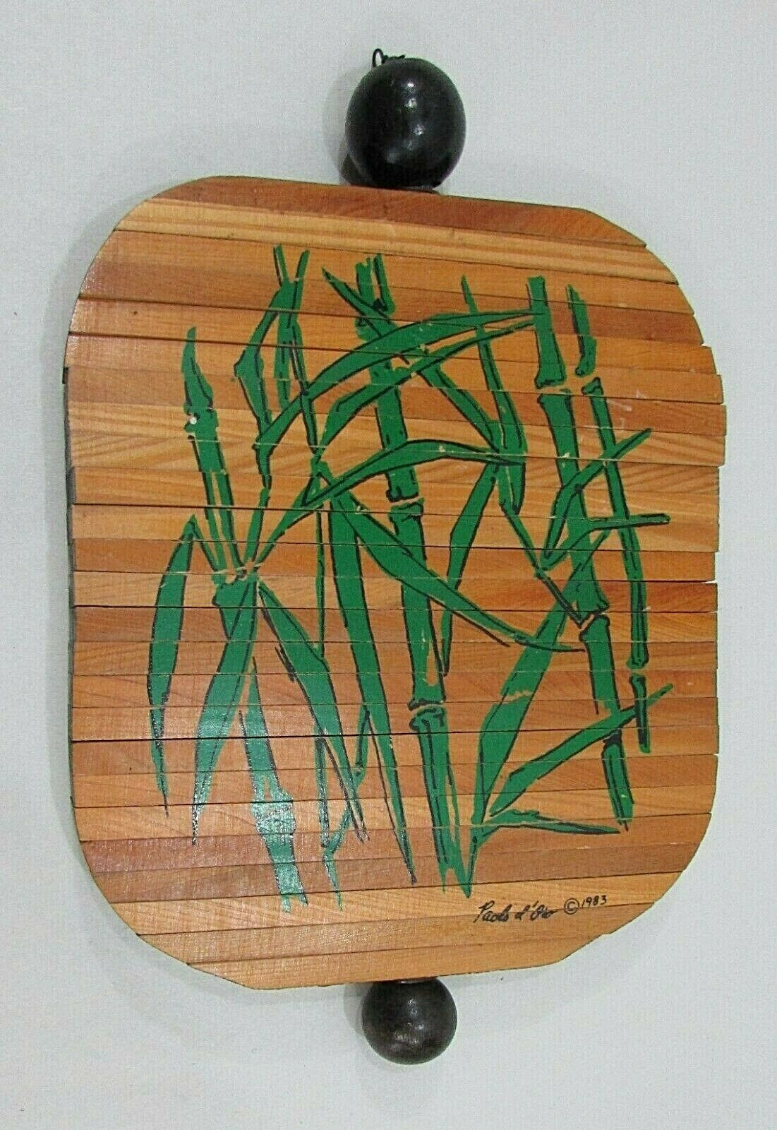 Paul Marshall 1983 Signed Green Hand Painted Bamboo Wood Wind Spinner FREE S/H