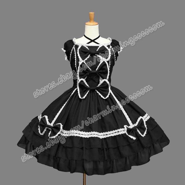 Victorian Sweet Lolita Gothic Cute Punk Luxurious Black Romantic Dress Costume