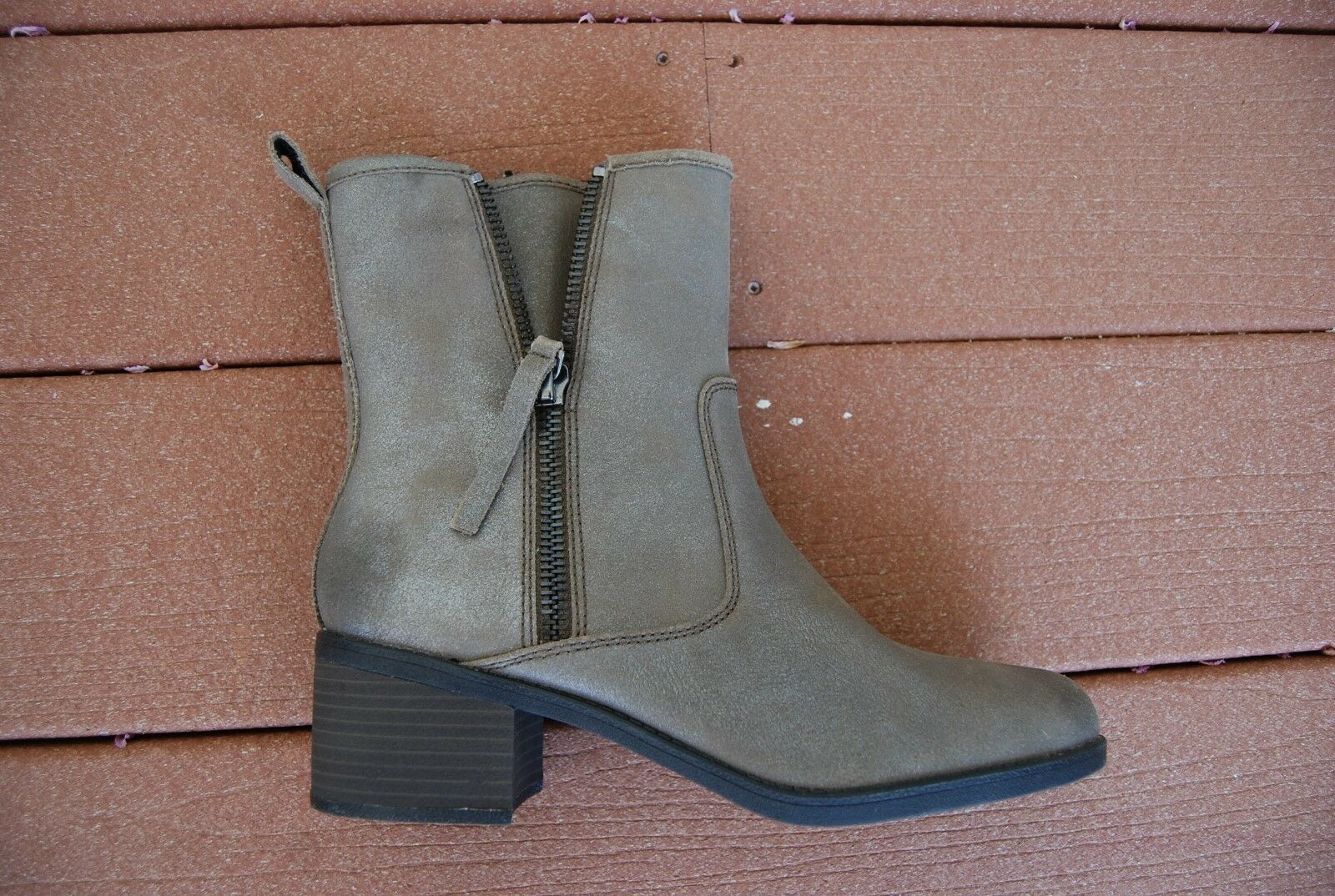 New Taupe Rough Leder Dbl Side Devon Zip CLARKS COLLECTION Nevella Devon Side Stiefel 10 M c25918