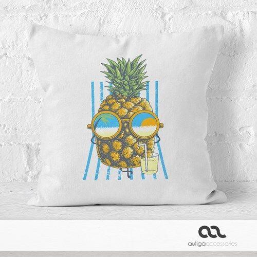 Kissenbezug chilling Ananas Pinapple Sommer Beach Cocktail 40x40 Autiga®