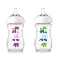Philips Avent 260ml Naturnah Flasche Elefantendekor Anti-kolik Mit 2-loch Sauger