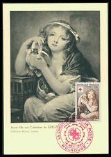 France MK 1954 CROCE ROSSA RED CROSS dipinto del Louvre carte MAXIMUM CARD MC ax85