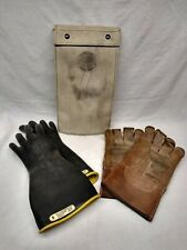 Salisbury Lineman Gloves Size 9 Class 1 Type 1 With Leather Gloves Amp Canvas Case