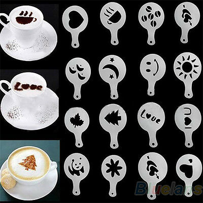 16Pcs Beautiful Tasty Coffee Barista Stencils Template Strew Pad Duster Spray