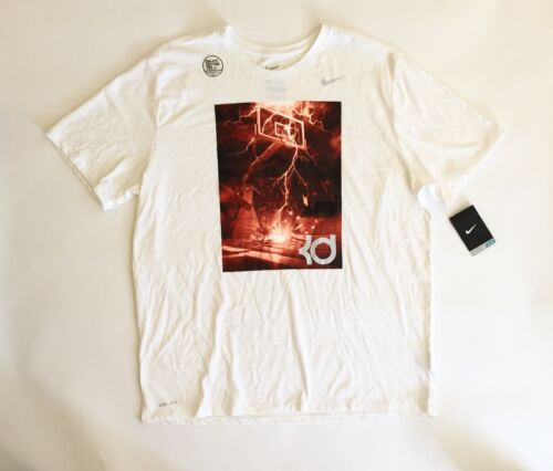 4 of 9 NWT Nike KD Kevin Durant Player Lightning Bolt T-shirt Size 2XL  White Red Cotton bc1a8665c30c