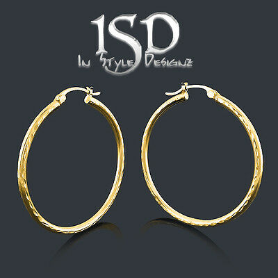 "14k Yellow Gold Womens Fancy Diamond Cut Round Tube Hoop Earrings 1.4"" Diameter"