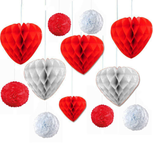 12 Red//White Honeycomb Hearts Hanging Decor Tissue Paper Wedding Valentines Day