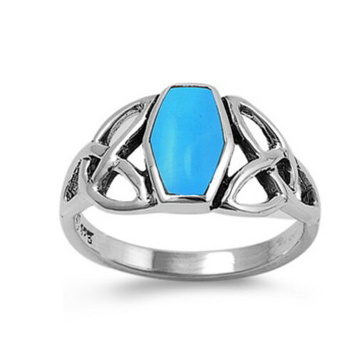 Details about  /Fine Men Women 11mm Sterling Silver Simulated Turquoise Celtic Knot Ring Band