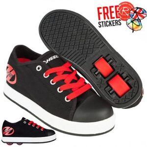 pretty nice 2c909 b8cf4 Dettagli su Heelys X2 Shocking, Nero/Rosso Ragazzi Roller Skate Scarpe /  con Rotelle Pattini
