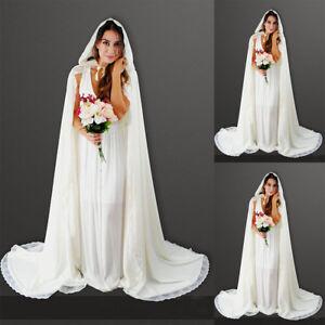 b993d2deac Bridal Wedding Party Hooded Cloak Cape Shawl White Ivory Long Jacket ...