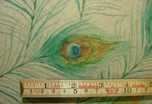 Peacock Feathers Digital Print Cotton Linen Look Fabric Curtaining Upholstery
