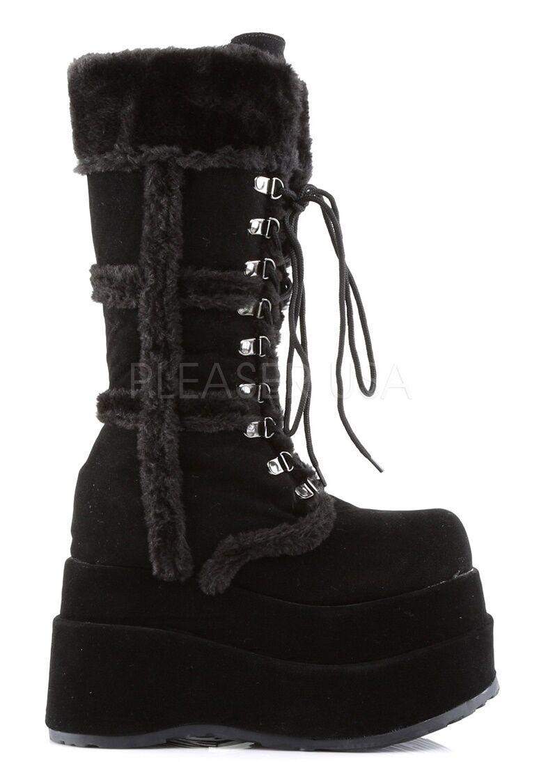Demonia 4.5  Platform Faux Fur Black Calf High Boots 6 7 8 9 10 11 12