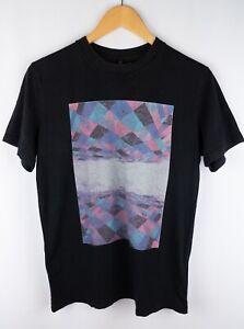 Nudie-Jeans-Camiseta-Hombres-Manga-Corta-Negro-Algodon-Casual-Cuello-Redondo-Talla-S