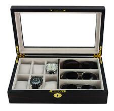 6 Watch 3 Eyeglass Ebony Wood Storage Display Glasses Case Organizer Box 6000eb