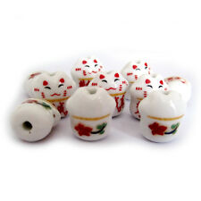 10Pcs Ceramics Porcelian Happy Lucky Word Cat Beads Finding--Jewelry Accessory