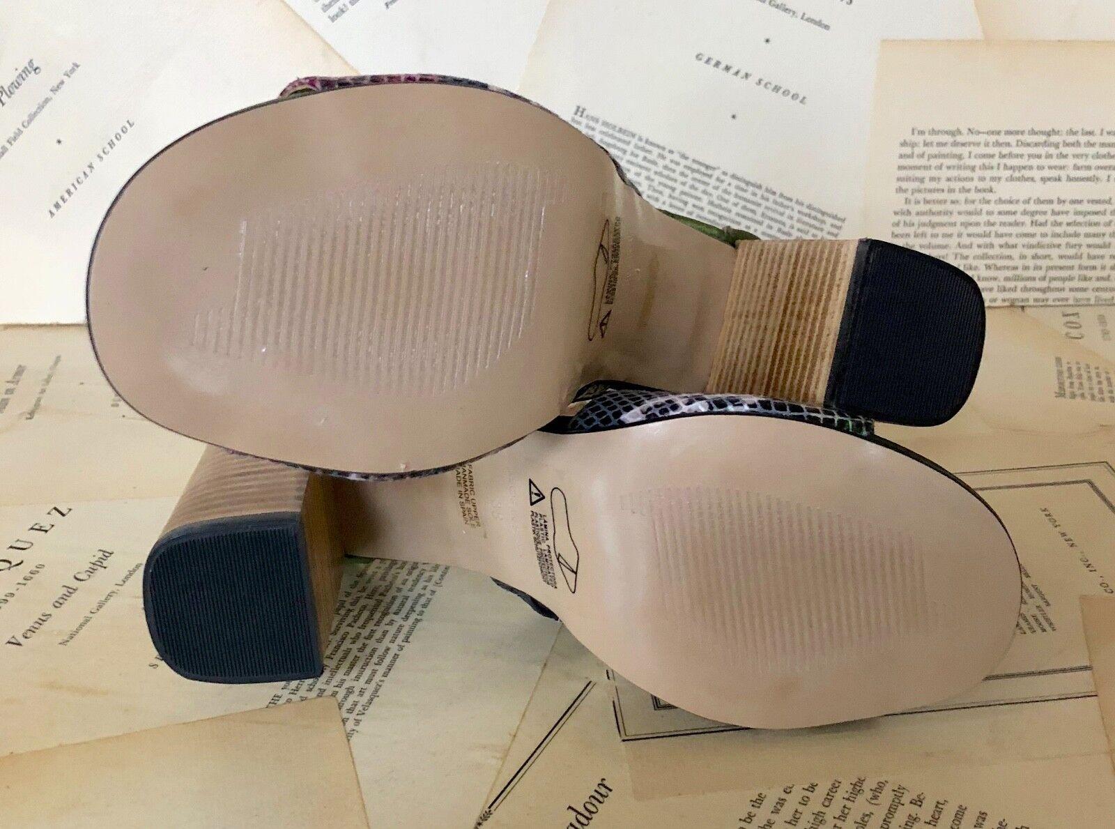 NIB Anthropologie Olive Snake Embossed Olive Anthropologie Satin Ankle Strap Heel Sandales 38 / 7.5-8 860641