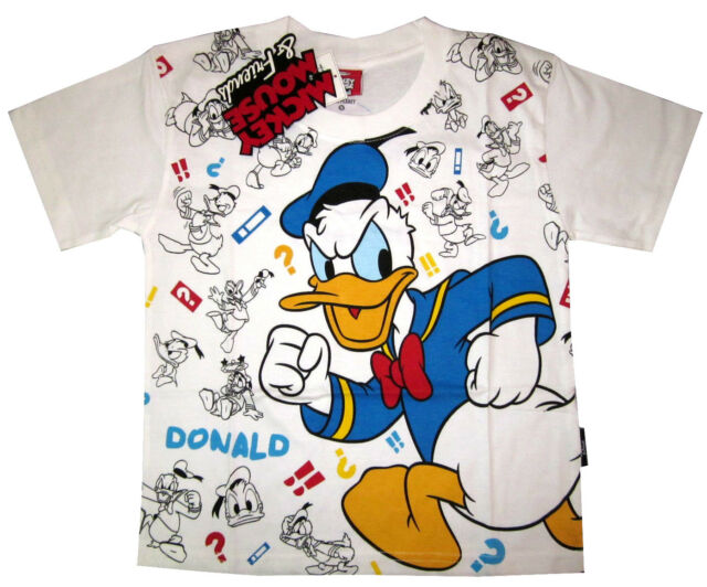 MICKEY MOUSE & FRIENDS 'DONALD DUCK' cotton t-shirt S-XL Age 3-8 yrs Free Ship