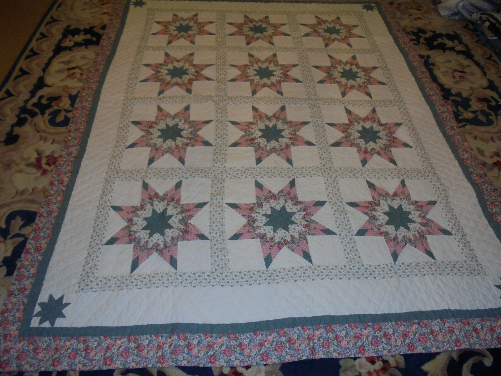 Pretty pink & Green Exploding Star w Sashing & Frame Quilt