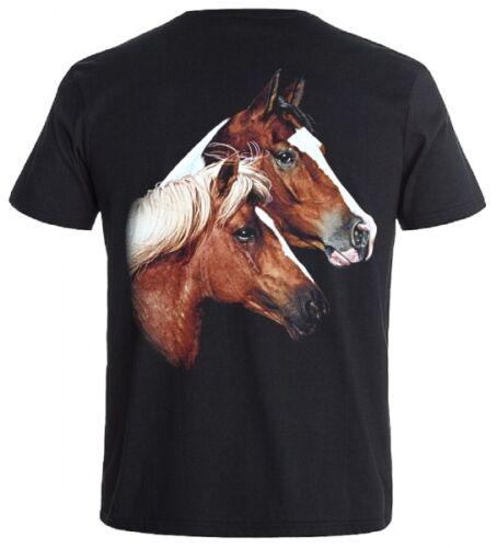 Tiermotiv T-Shirt Braunes Pferd mit Fohlen