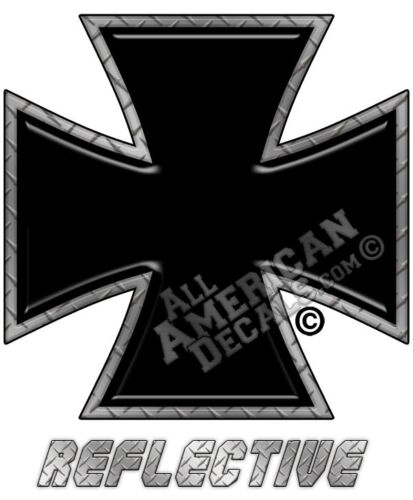 """Black with Diamond Plate Reflective Decal Iron Cross Decal Sticker 3/"""" inches 1"""