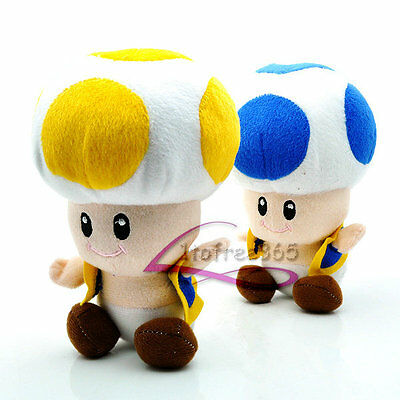 "Lot 2 Super Mario Bros 6"" Blue Toad Yellow Toad  Cute Plush Doll Toy MW290"