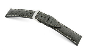 "RIOS1931 Germany Genuine Shark Leather Watch Band Strap 18 mm Stony Grey ""Wave"""