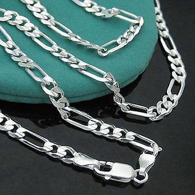 "Wholesale Lots 5pcs Silver 2mm Italy Figaro Chain Necklace 16""-30"""