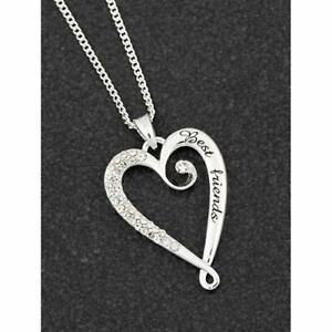 Details About Equilibrium Silver Plated Looped Heart Best Friends Necklace Gift Box