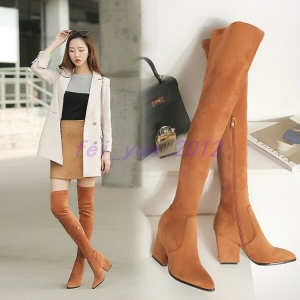 Womens Suede High Heel Stretch Over the Knee Thigh Boots Winter High Boots shoes