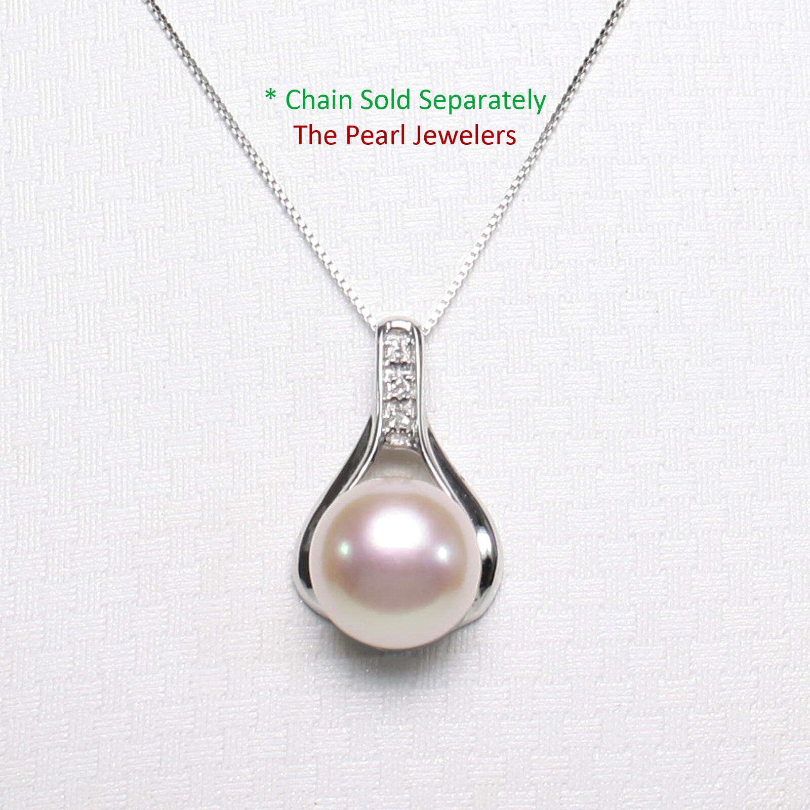 14k Solid White gold Racquet Design Diamond & Pink Cultured Pearl Pendant TPJ
