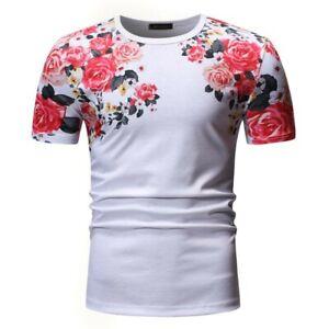 Summer Men/'s T-Shirt Printed Floral Crew Neck Tops Short Sleeve Basic Tees New B