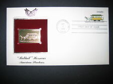 1983 Bobtail Horsecar American Streetcars 22kt Gold Golden Cover Replica Stamp