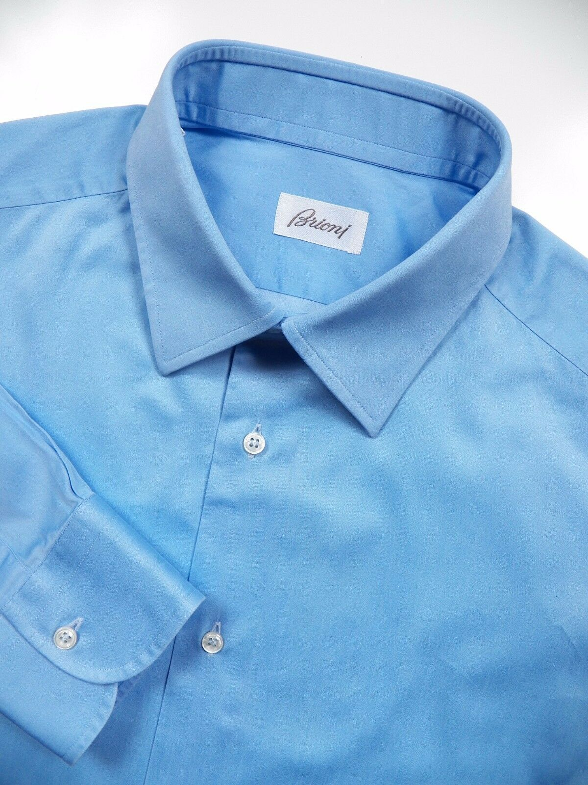 BRIONI herren 17 XL 36 LUXURY DRESS hemd LUSTROUS SILKY SKY Blau MADE IN ITALY