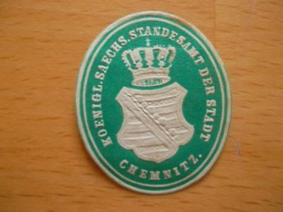 Siegelmarke Königliches Standesamt Der Stadt Chemnitz Fortgeschrittene Technologie üBernehmen 13511 Das Beste