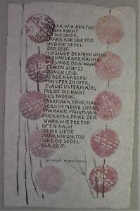 Marlene REIDEL (1923-2014)  illustriertes Gedicht GEORGE FORESTIER - UNIKAT