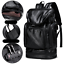 Large Mens Soft Leather Backpack with USB Charging Port Waterproof Travel Bag