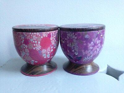2 Piccole Decorative Con Motivi Floreali Lattine Ideale Da Tavolo/craft/bagno Storage-