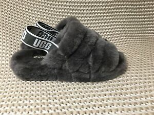 0a8a59d80f9 Details about UGG FLUFF YEAH SLIDE CHARCOAL/GRAY SHEEPSKIN SLINGBACK  SLIPPERS SIZE US 9 WOMEN