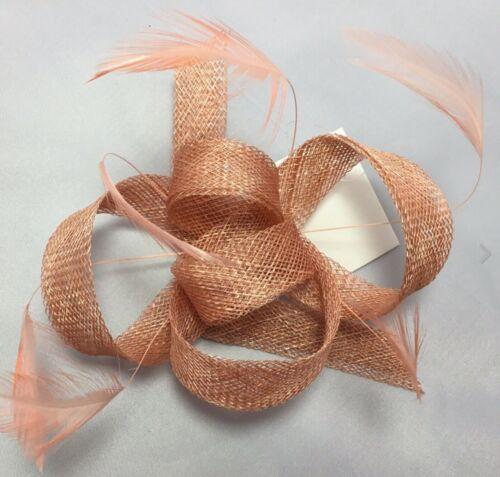 Nude.Sand.Orange.Peach.Net Fascinator//Corsage.CLIP.wedding.races.#38