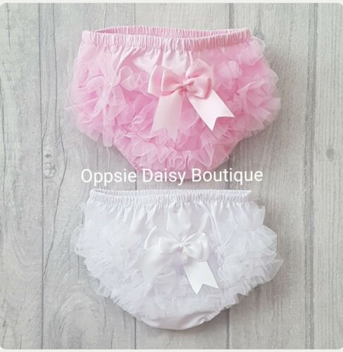 Baby Girls Ribbon /& TuTu Frilly Knickers Pants Frilly Pants Pink /& White ☆