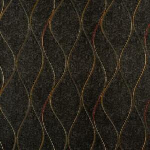 Wallpaper Modern Wave Metallic Gold Red Stripe on Black