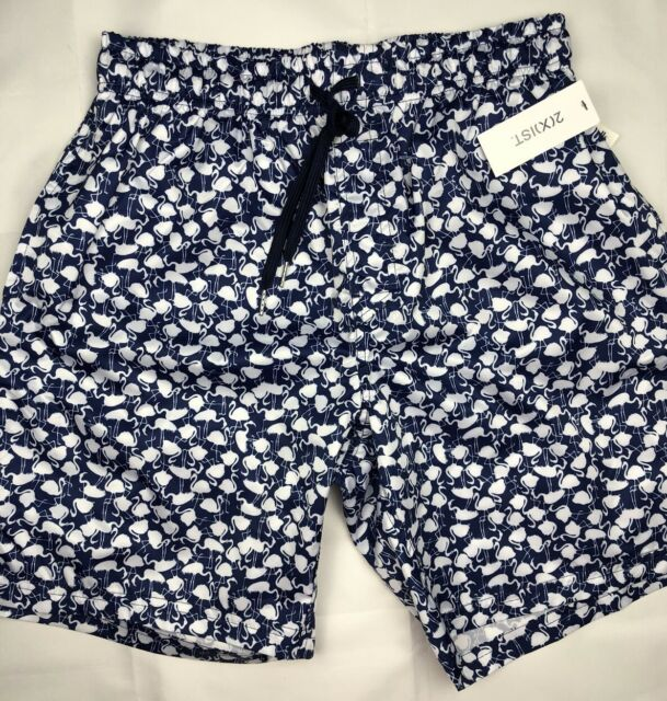 378aa4c284b 2(X)IST Mens Swim Trunks Shorts Swimwear Elastic Waist Blue White Flamingos  L