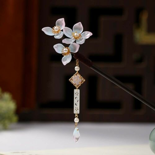 Vintage Headdress Wooden Hair Sticks Handmade Flower Hairpin Hair Clip Jewelry
