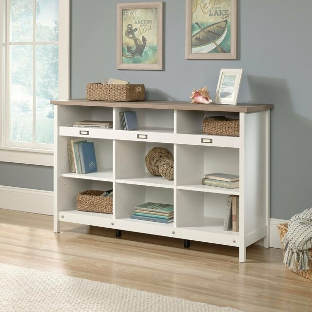 Low Cottage Bookcase Cubby Display Cabinet Storage Living Room Off White Oak