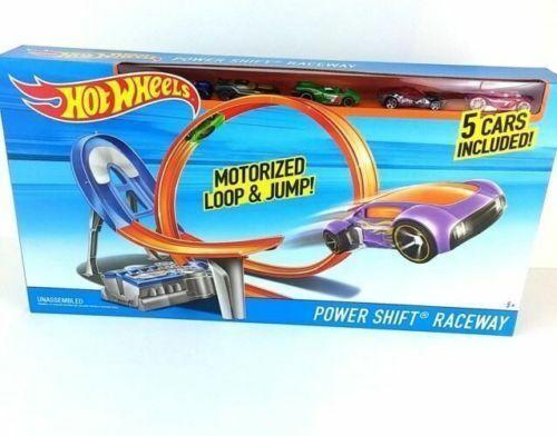 HOT WHEELS Power Shift Raceway motorisé Boucle & Jump  5 voitures-New & Boxed