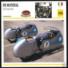 1956 F.B. Mondial 125cc Grand Prix Italy Race Motorcycle Photo Spec Sheet Card