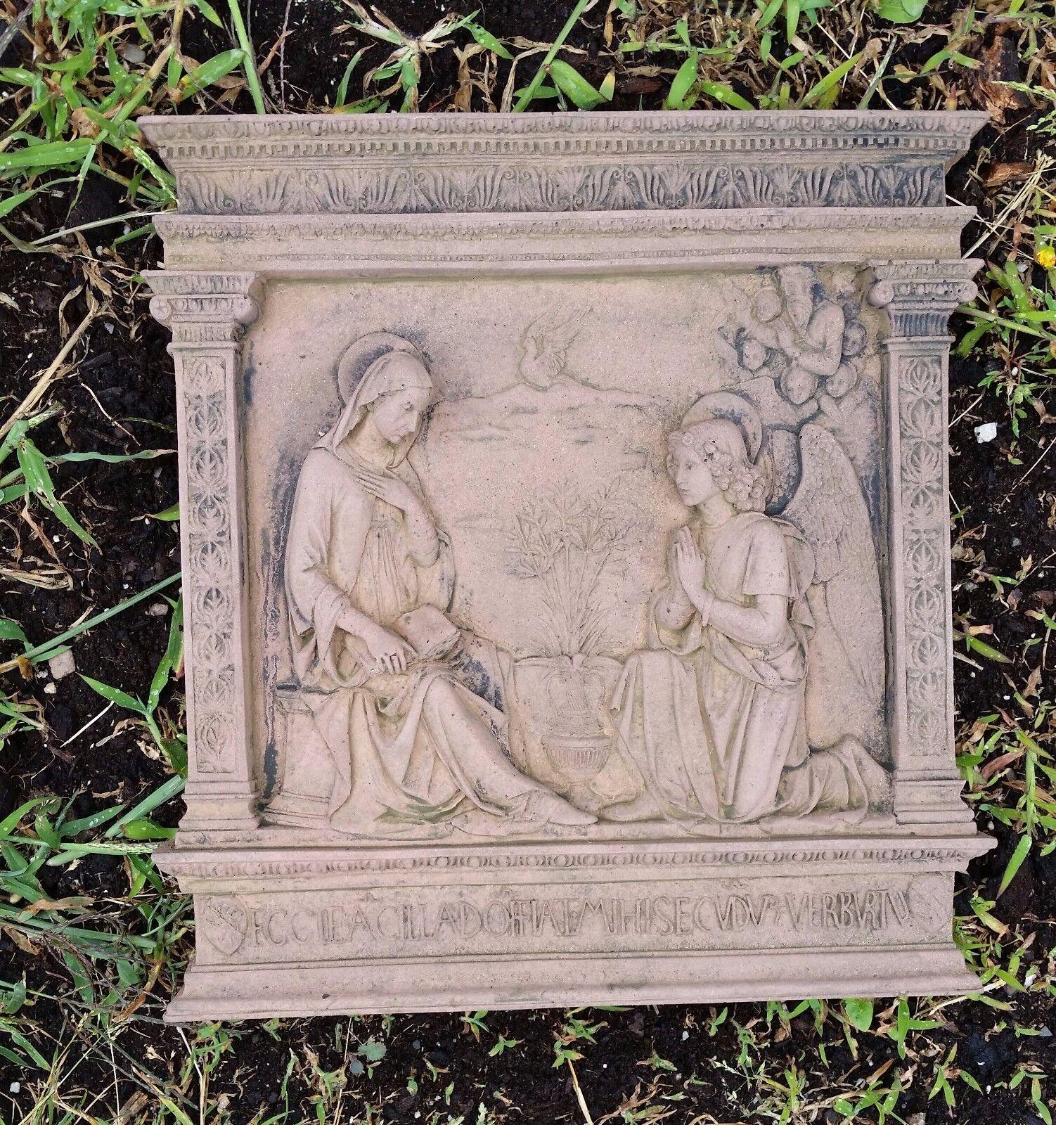 Wandbild Relief Engel Gabriel Verkündung Verkündung Verkündung Kunst Sandstein Antik Look X 34 ROT 5f7e99